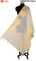 ISHIMAYA-Cream Color Banarasi Silk Dupatta - DUP0073K-Cream