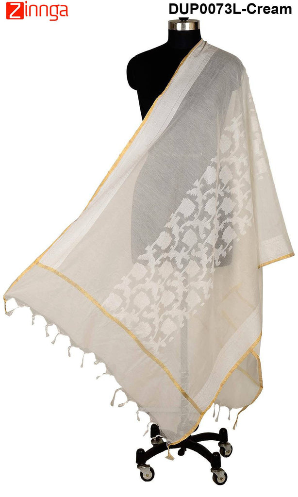 ISHIMAYA-Cream Color Banarasi Silk Dupatta - DUP0073L-Cream