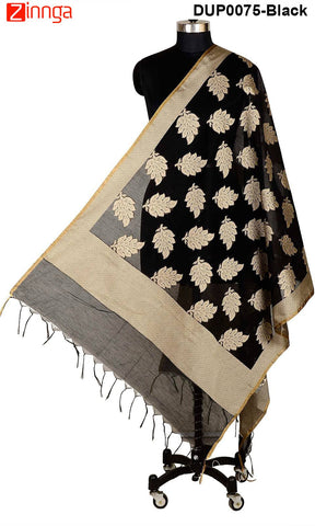 ISHIMAYA-Black Color Banarasi Silk Dupatta - DUP0075-Black