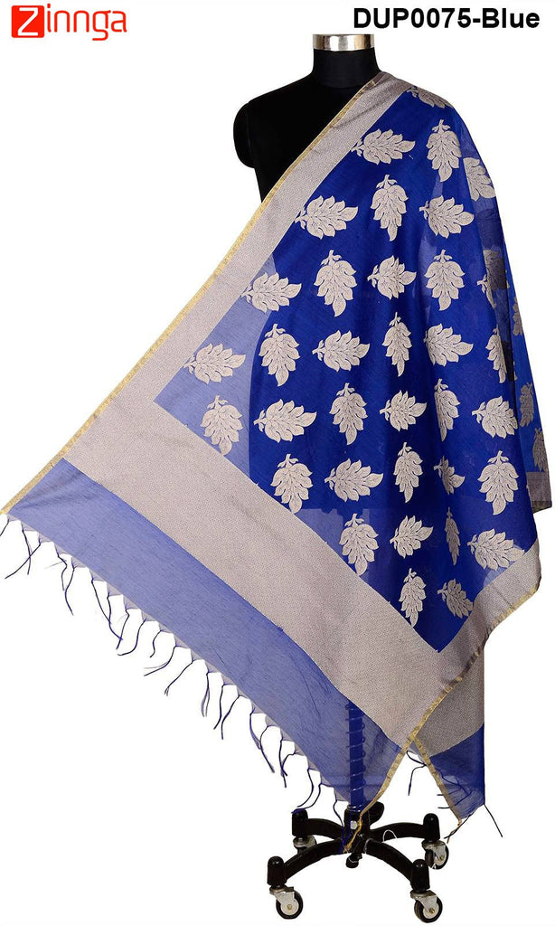 ISHIMAYA-Blue Color Banarasi Silk Dupatta - DUP0075-Blue