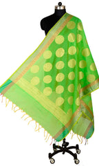 ISHIMAYA-Green Color Banarasi Silk Dupatta - DUP0077-Green