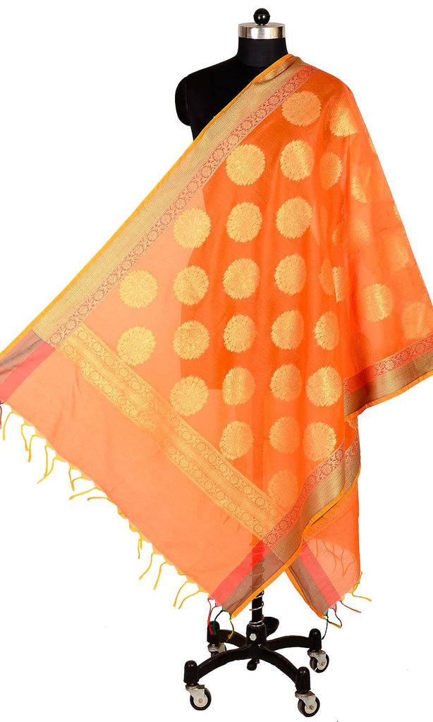 ISHIMAYA-Orange Color Banarasi Silk Dupatta - DUP0077-Orange