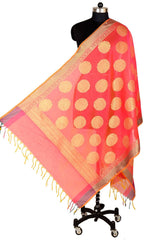 ISHIMAYA-Red Color Banarasi Silk Dupatta - DUP0077-Red