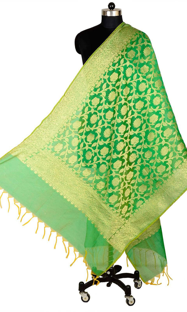 ISHIMAYA-Green Color Banarasi Silk Dupatta - DUP0078-Green