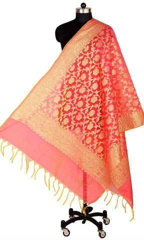 ISHIMAYA-Red Color Banarasi Silk Dupatta - DUP0078-Red