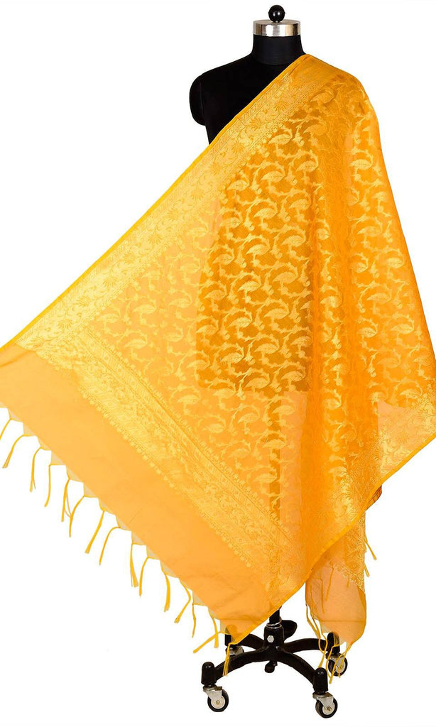 ISHIMAYA-Yellow Color Banarasi Silk Dupatta - DUP0078-Yellow