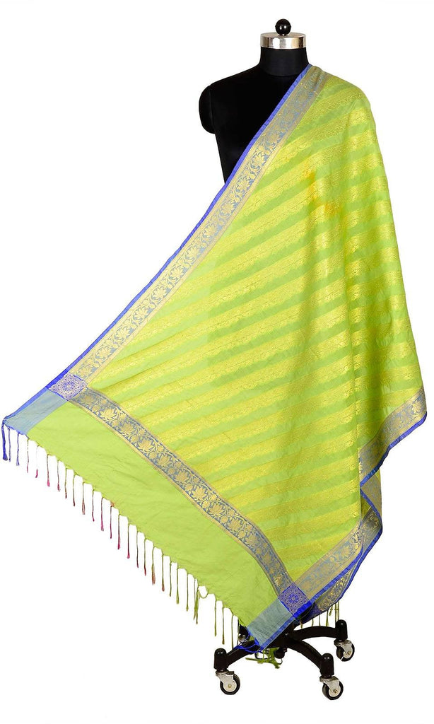 ISHIMAYA-Light Green Color Banarasi Silk Dupatta - DUP0079-Light-Green