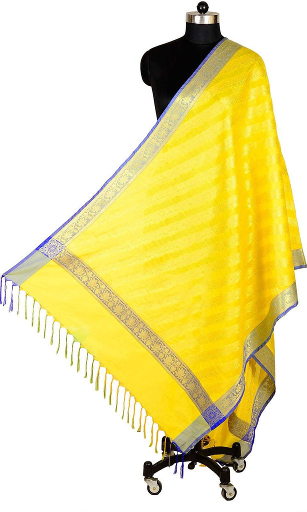 ISHIMAYA-Yellow Color Banarasi Silk Dupatta - DUP0079-Yellow
