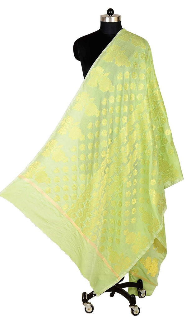 ISHIMAYA-Light Green Color Banarasi Silk Dupatta - DUP0080-Light-Green