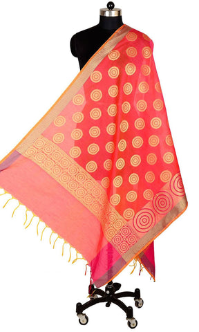ISHIMAYA-Red Color Banarasi Silk Dupatta - DUP0081-Red