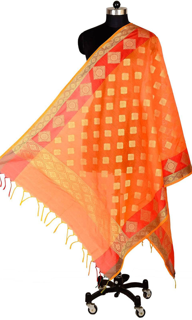 ISHIMAYA-Orange Color Banarasi Silk Dupatta - DUP0082-Orange