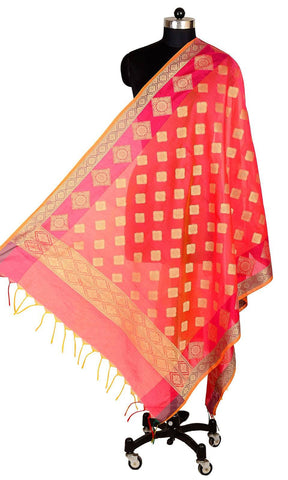ISHIMAYA-Red Color Banarasi Silk Dupatta - DUP0082-Red