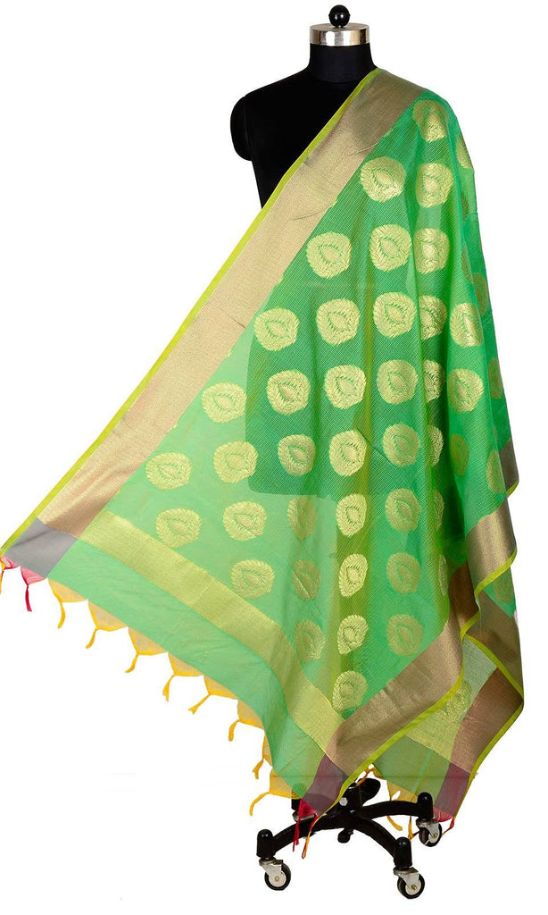 ISHIMAYA-Green Color Banarasi Silk Dupatta - DUP0083C-Green
