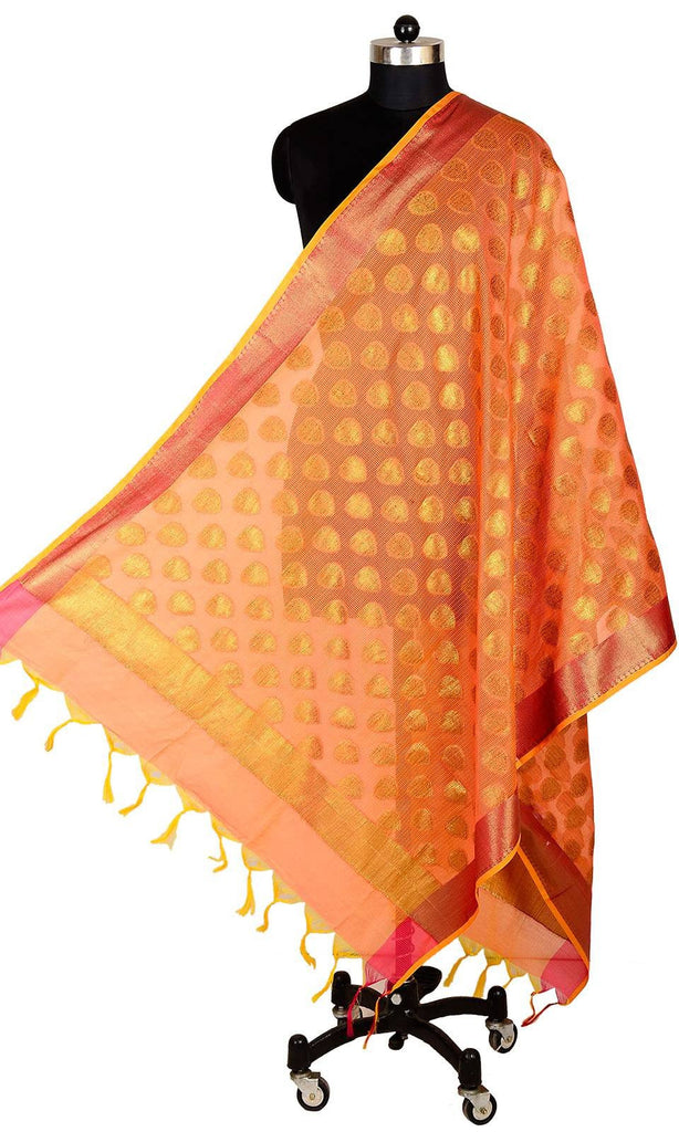 ISHIMAYA-Orange Color Banarasi Silk Dupatta - DUP0084A