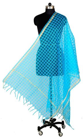 ISHIMAYA-Blue Color Banarasi Silk Dupatta - DUP0086-Blue