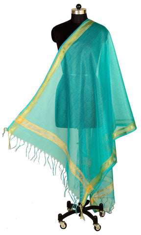 ISHIMAYA-Green Color Banarasi Silk Dupatta - DUP0088-Green