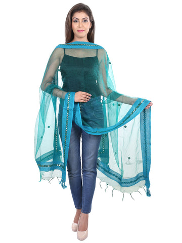 Turquoise blue   Colour Tissue  Dupatta- DUP0415