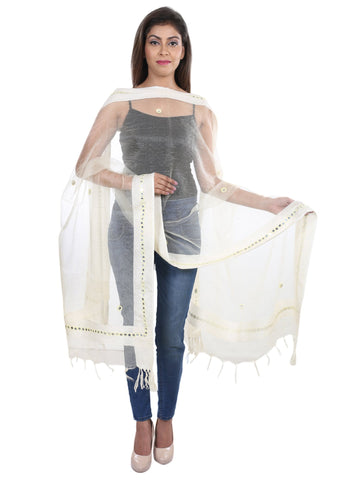 White  Colour Tissue  Dupatta- DUP0419