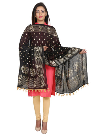 Black &Gold Colour Pure Cotton Dupatta- DUP0509
