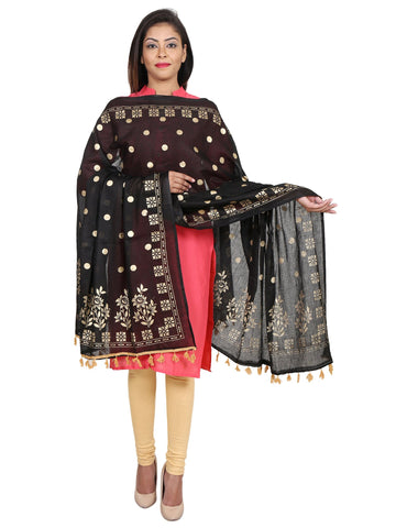Black &Gold Colour Pure Cotton Dupatta- DUP0510