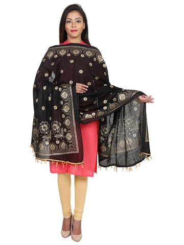 Black &Gold Colour Pure Cotton Dupatta- DUP0511