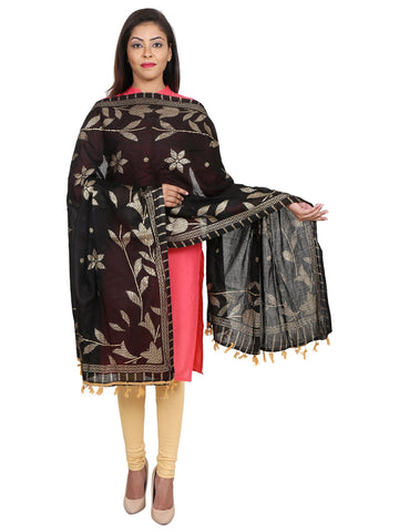 Black &Gold Colour Pure Cotton Dupatta- DUP0512
