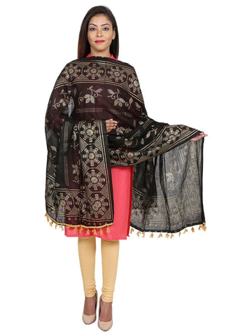 Black &Gold Colour Pure Cotton Dupatta- DUP0513