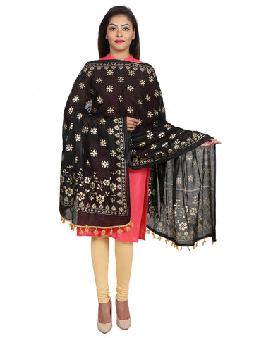 Black &Gold Colour Pure Cotton Dupatta- DUP0514