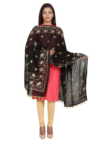 Black &Gold Colour Pure Cotton Dupatta- DUP0515