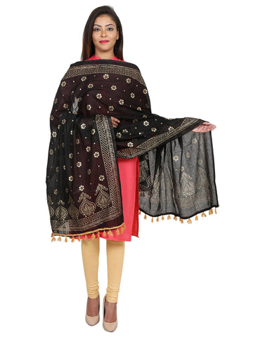 Black &Gold Colour Pure Cotton Dupatta- DUP0516