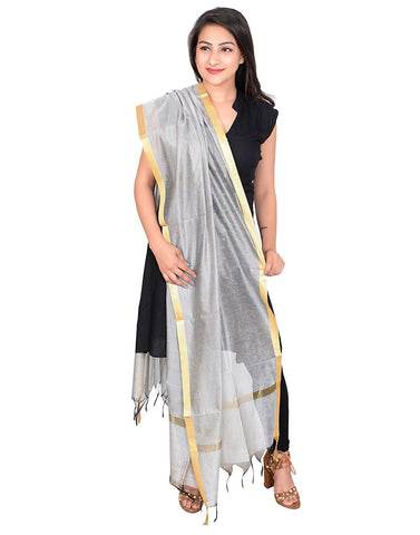 White  Colour Cotton Chanderi Dupatta- DUP0521