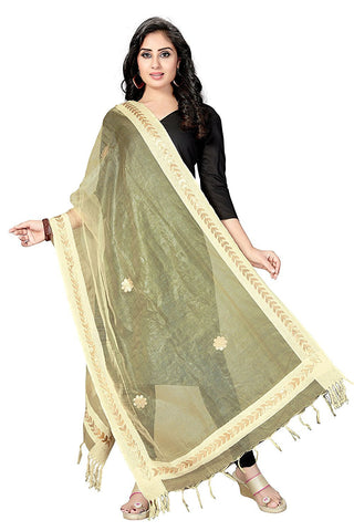 Dark Cream  Colour TISSUE Dupatta- DUP0552