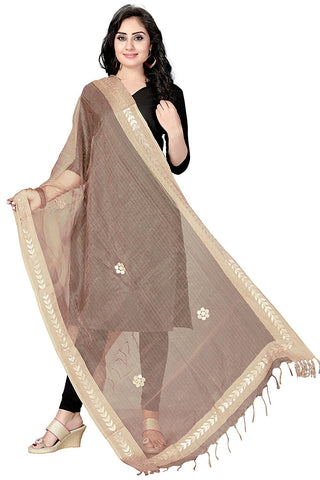 Brown  Colour TISSUE Dupatta- DUP0555