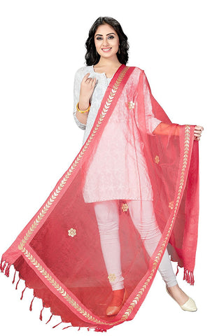 Red Colour  TISSUE Dupatta- DUP0556