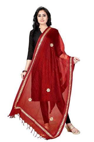 Maroon Colour  TISSUE Dupatta- DUP0557
