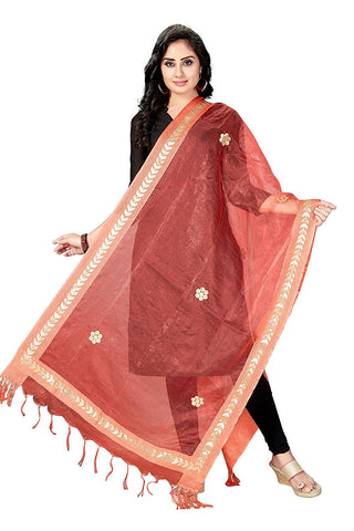 Peach Colour  TISSUE Dupatta- DUP0559