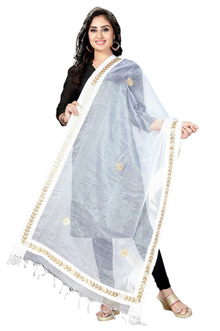 White Colour  TISSUE Dupatta- DUP0563