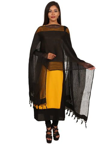 Black Colour  Silk Dupatta- DUP0573