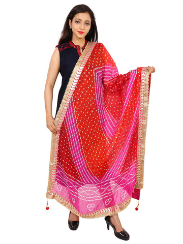 Pink & Red Colour Silk Dupatta- DUP0619