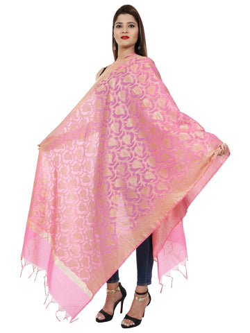 Pink Colour Pure Silk Dupatta- DUP0669