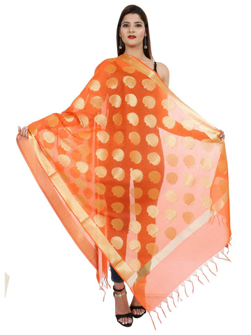 Orange Colour Pure Silk Dupatta- DUP0670