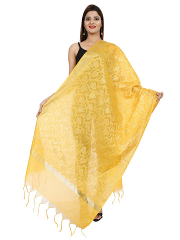 Yellow Colour Pure Silk Dupatta- DUP0672