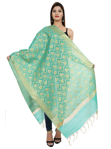 Turquiose Blue  Colour Pure Silk Dupatta- DUP0673