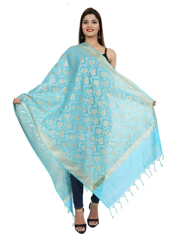 Sky Blue Colour Pure Silk Dupatta- DUP0675