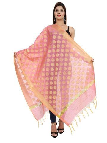 Peach Colour Pure Silk Dupatta- DUP0676