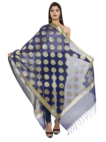 Navy Blue Colour  Pure Silk Dupatta- DUP0678
