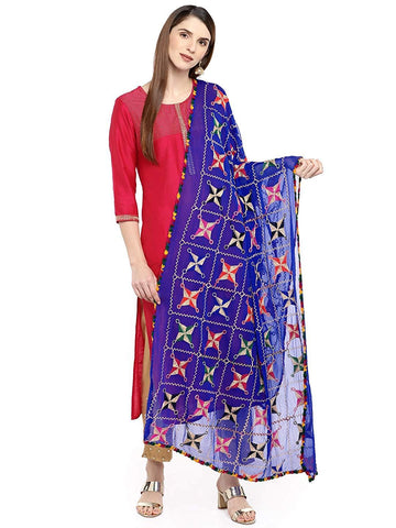 Royal Blue Colour Chiffon Dupatta- DUP0682