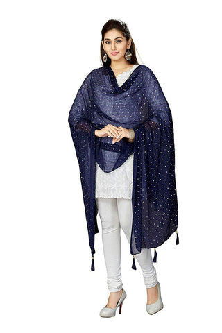 Navy Colour Chiffon  Dupatta- DUP0690