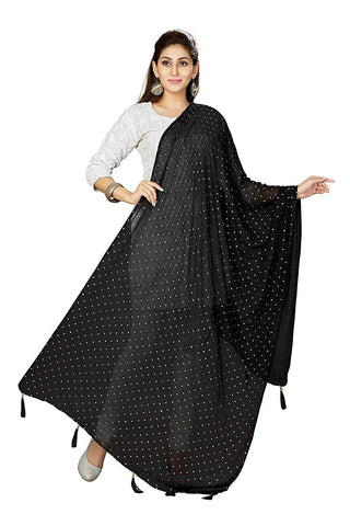 Black Colour  Chiffon  Dupatta- DUP0694