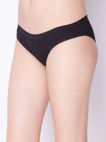 Black Color Cotton Women's Plain Panty - DVS-PT201